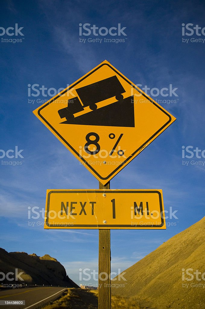 Downhill Sign in the Desert Southwest royalty-free stock photo