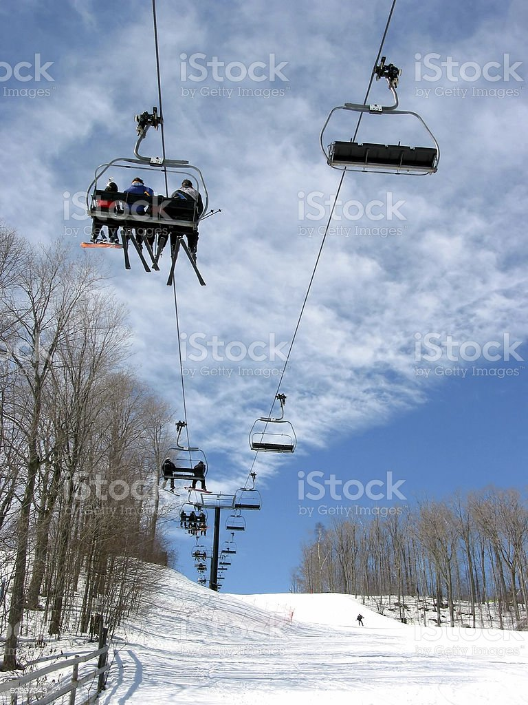 Downhill ski chairlift stock photo