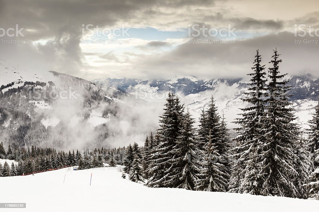 Downhill Ski Slope near Megeve in French Alps, France royalty-free stock photo