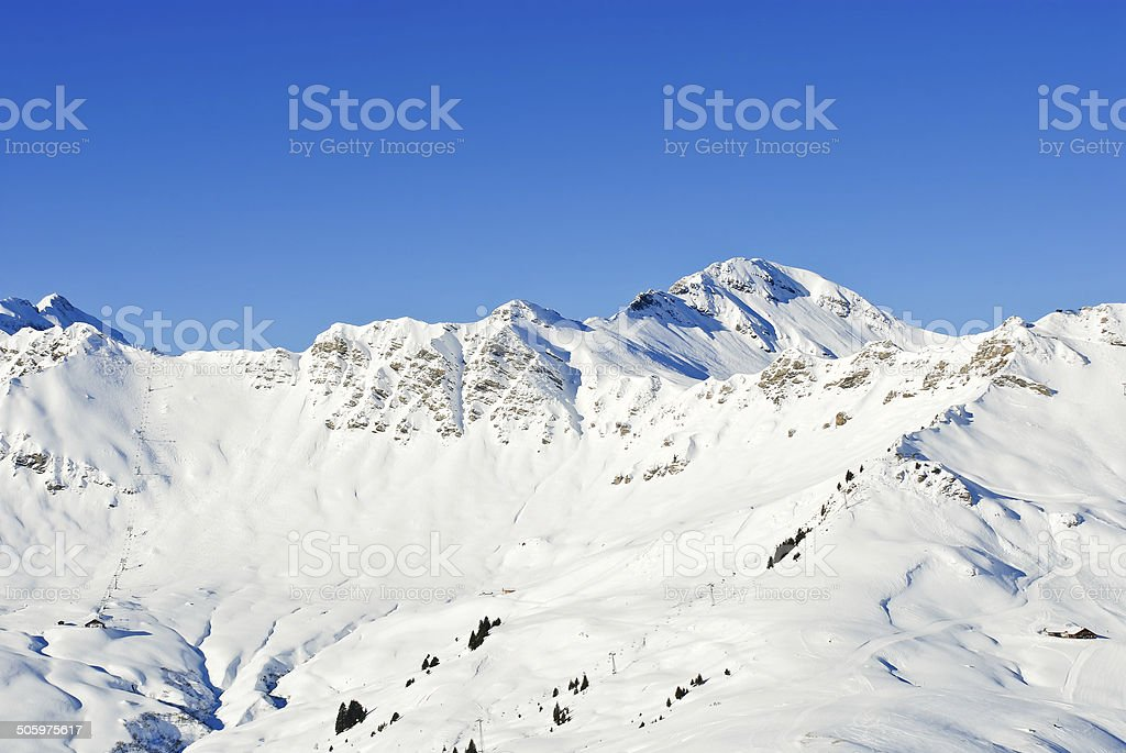 downhill skiing tracks in Portes du Soleil region stock photo