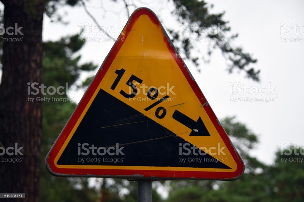 Downhill Warning Sign in Poland stock photo