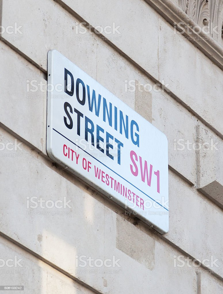 Downin Street road sign stock photo