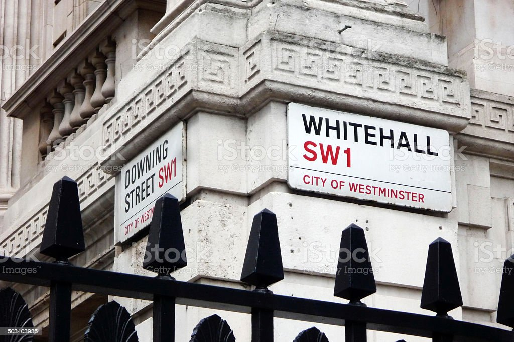 Downing Street and Whitehall stock photo