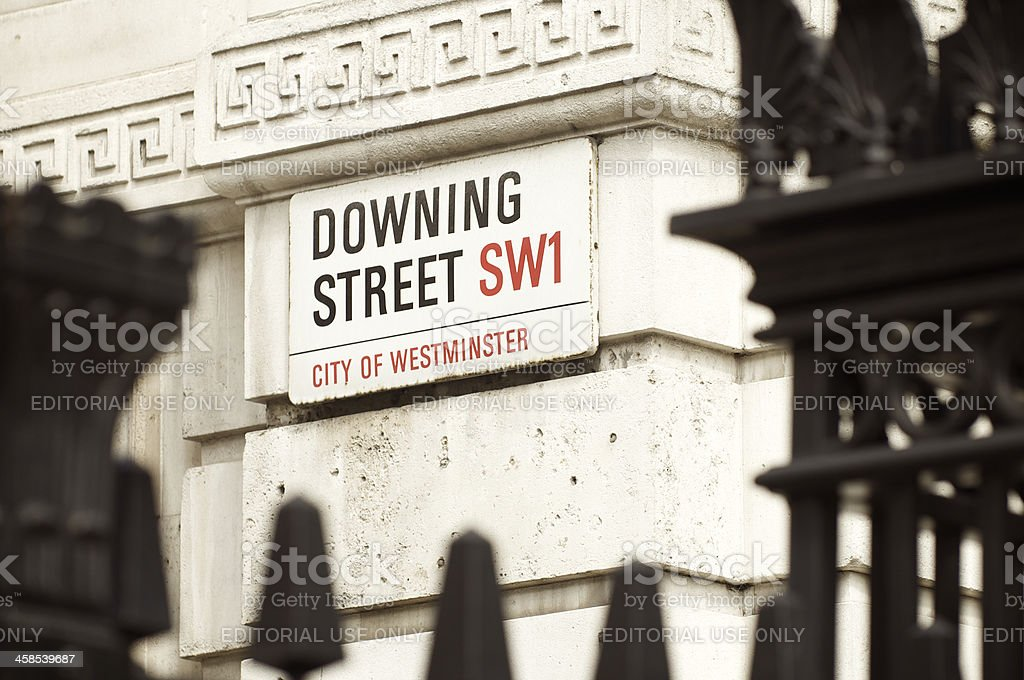Downing Street City of Westminster Sign London stock photo