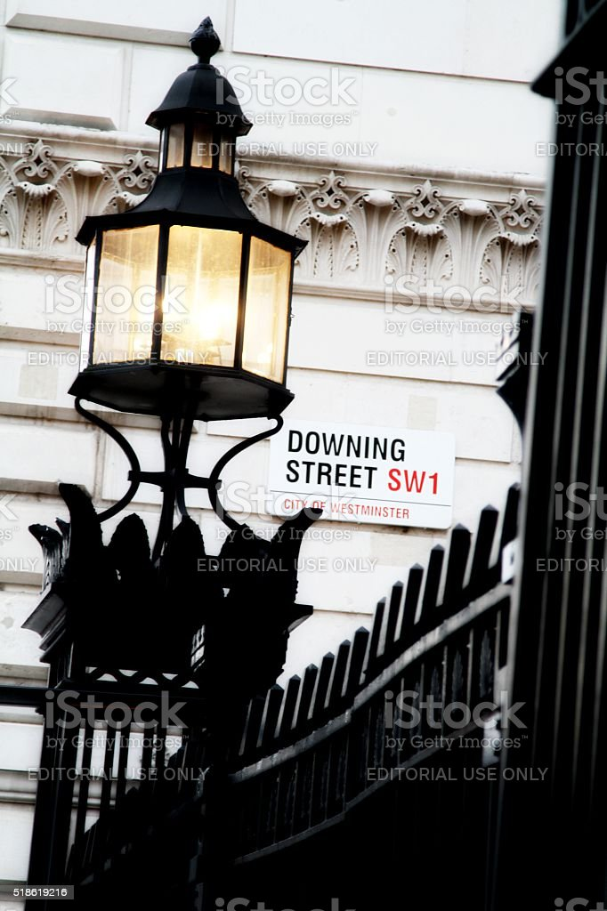 Downing Street London , street sign stock photo