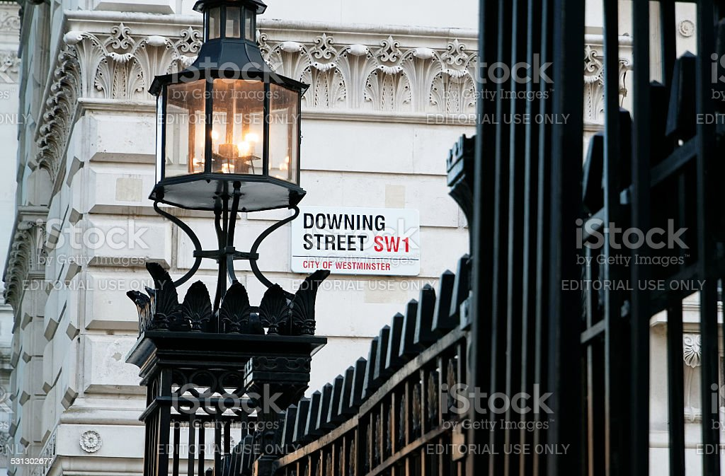 Downing Street Sign City of Westminster London stock photo