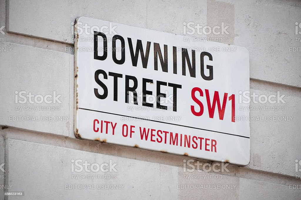 Downing Street sign in Westminster, London stock photo