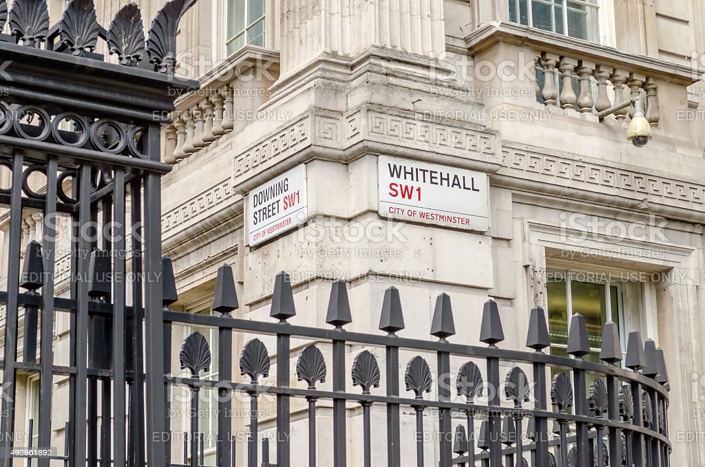 Downing Street Sign, London stock photo