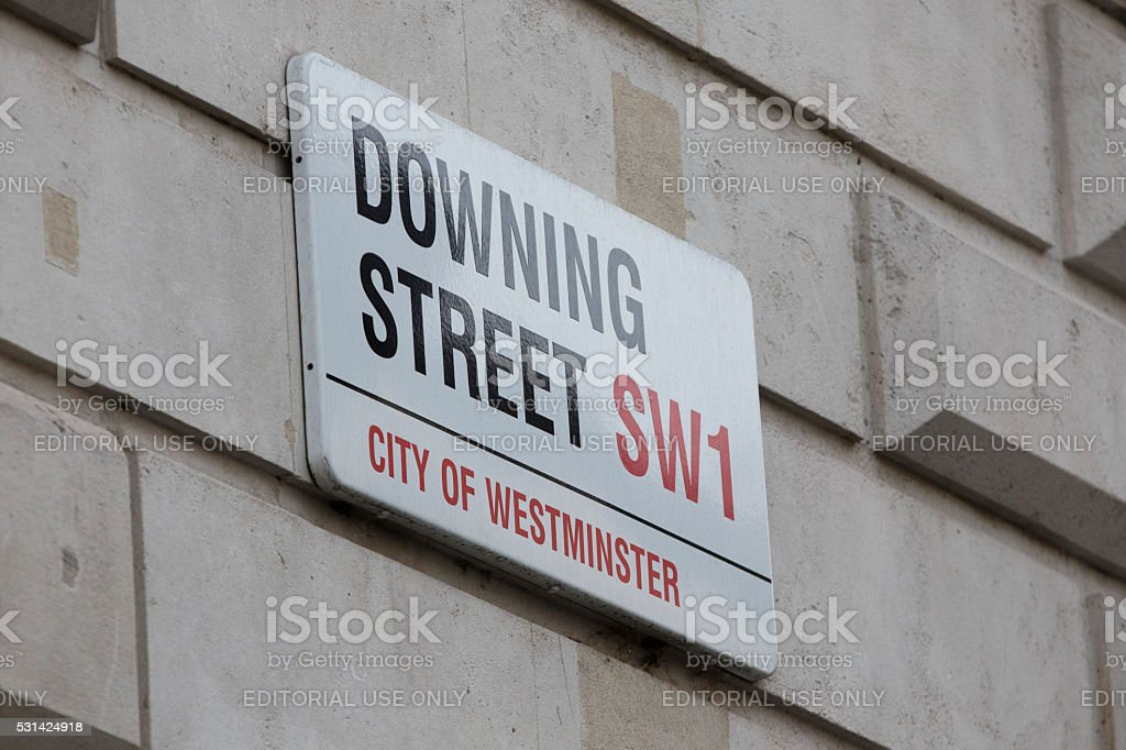 Downing street sign London stock photo