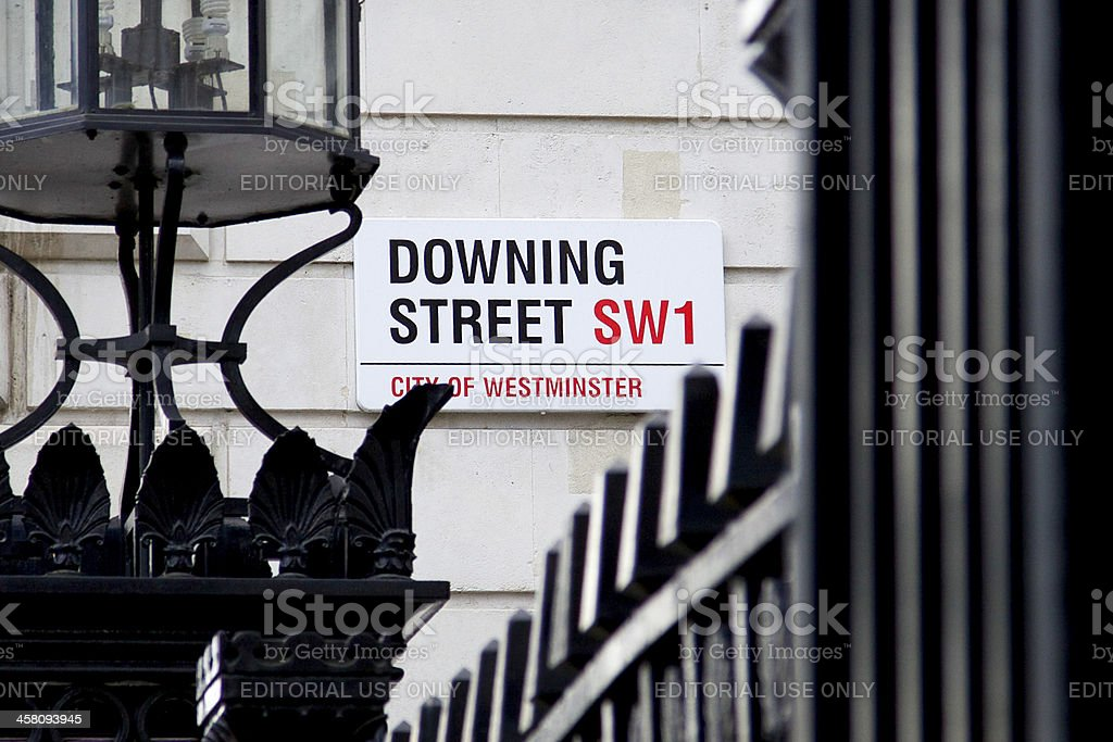 Downing Street sign stock photo