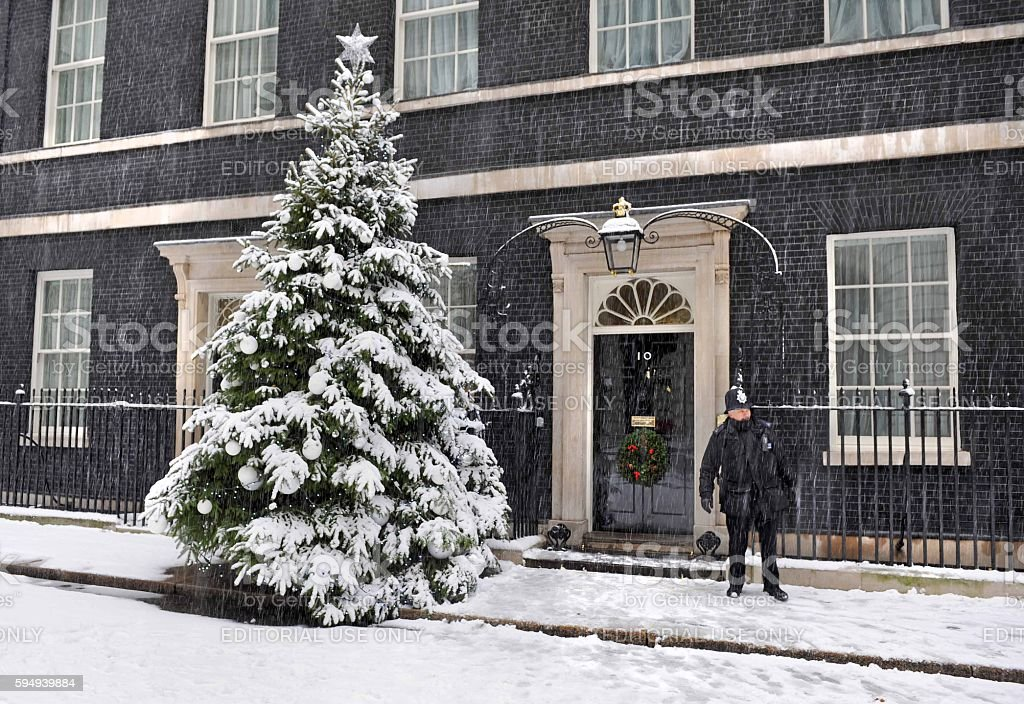 Downing Street snowstorm stock photo