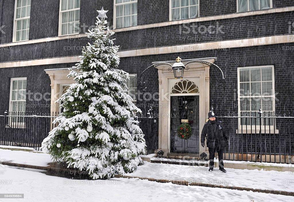 Downing Street snowstorm stock photo