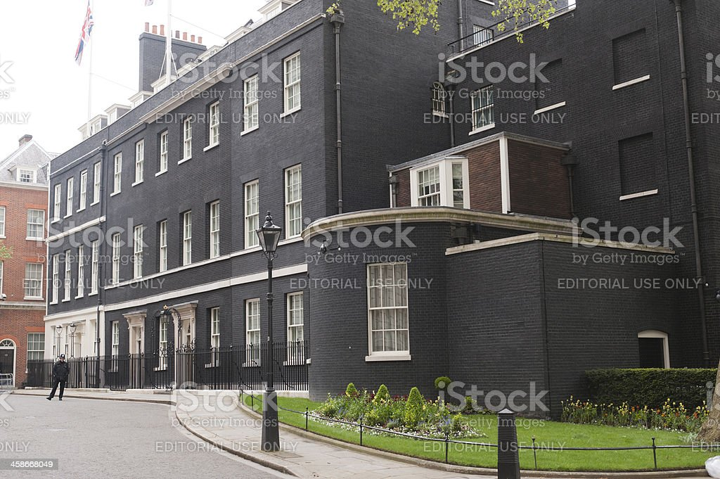 Downing Street with Policeman stock photo