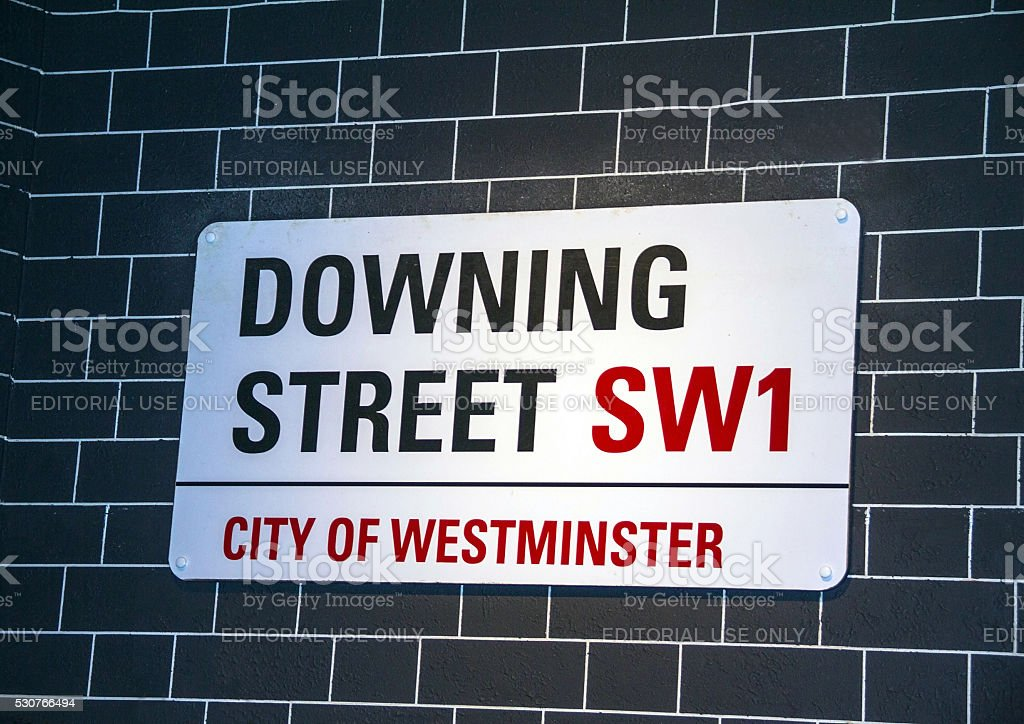 Downing Street's sign in Westminster.London. stock photo