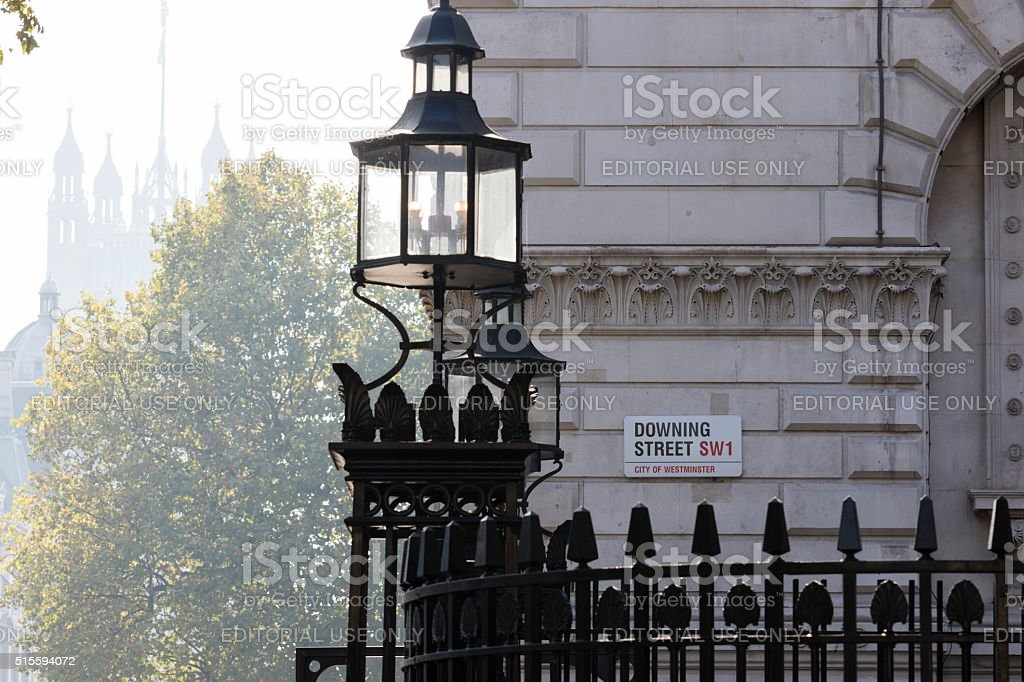 Downing Street's sign stock photo