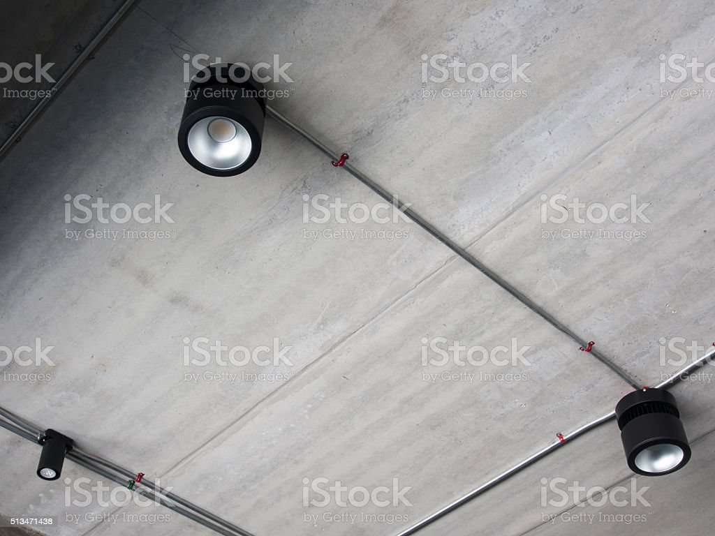 downlight cement wall stock photo