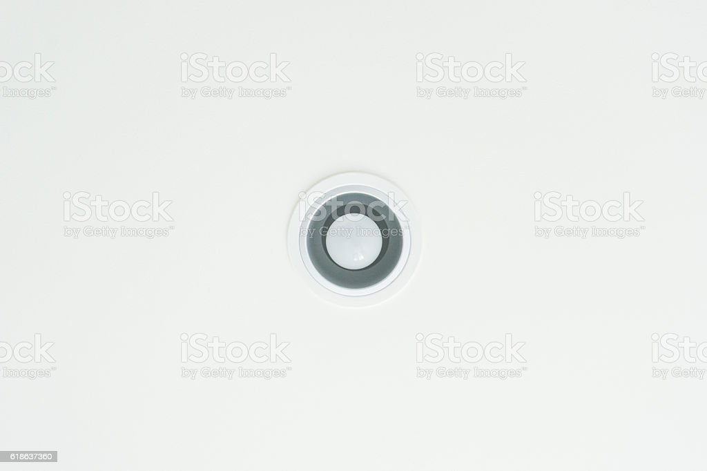Downlight on white ceiling texture background stock photo