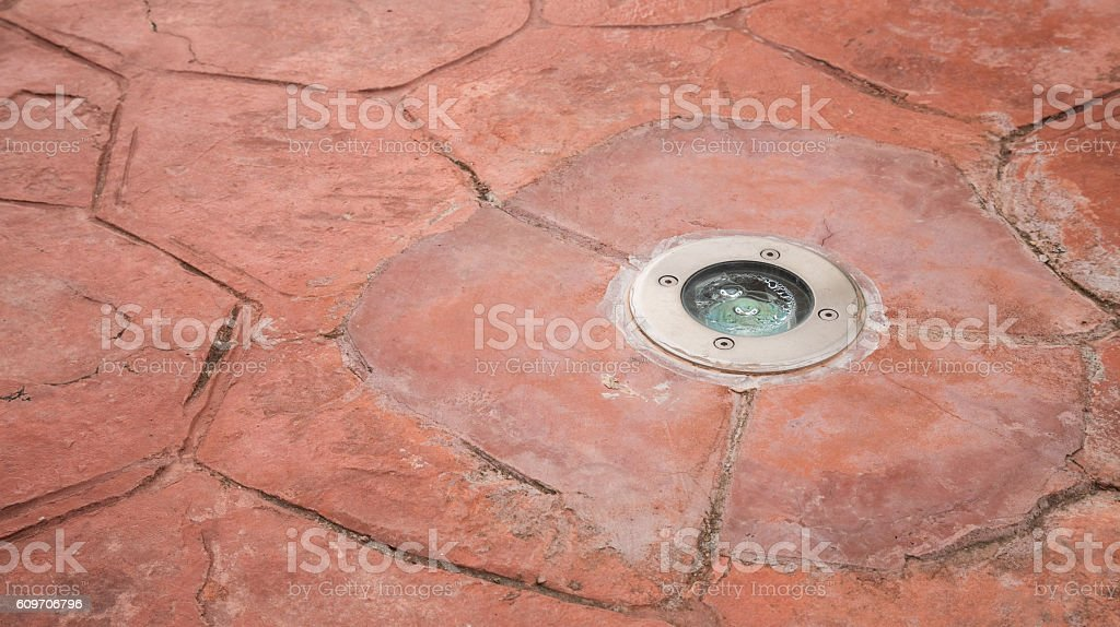 downlight with street floor texture background stock photo