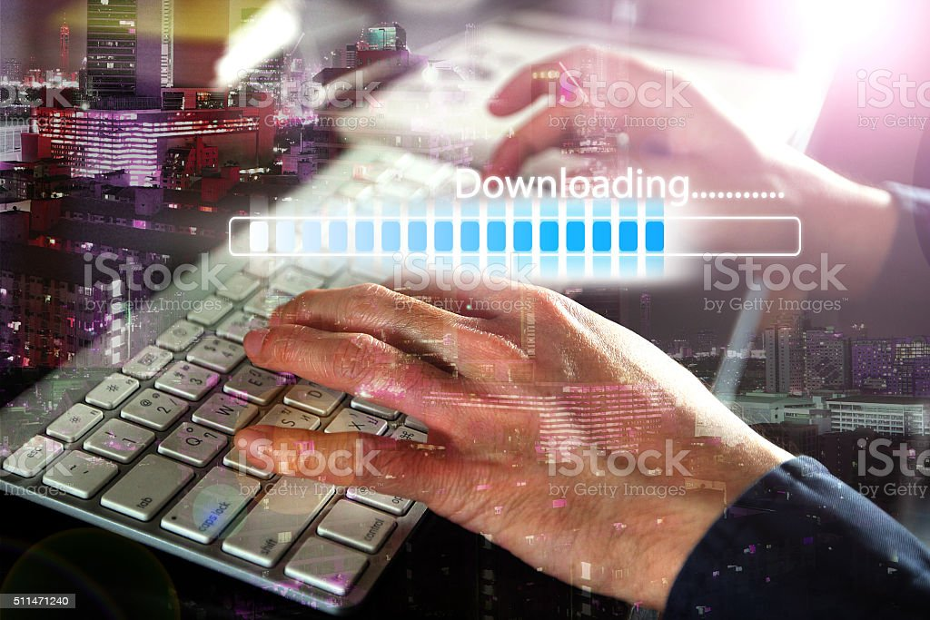Download  bar on keyboard stock photo