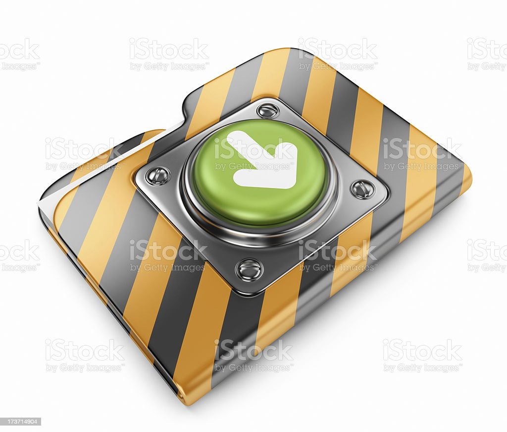 Download button with folder. 3D icon isolated royalty-free stock photo