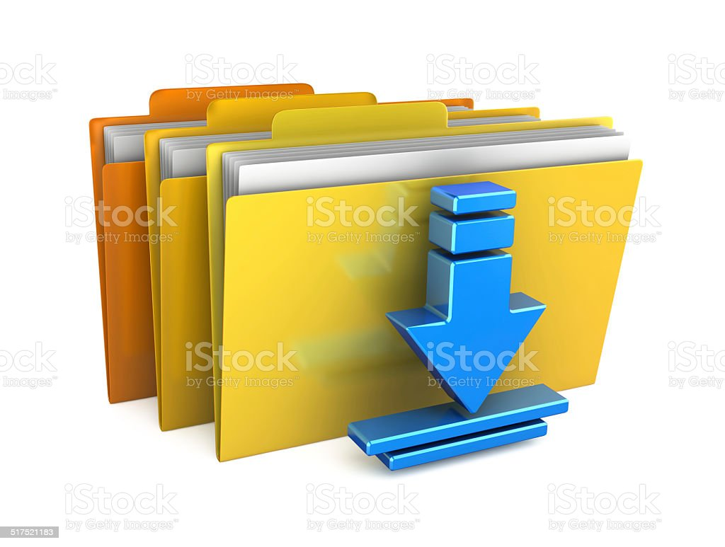 Download files concept isolated on white background stock photo