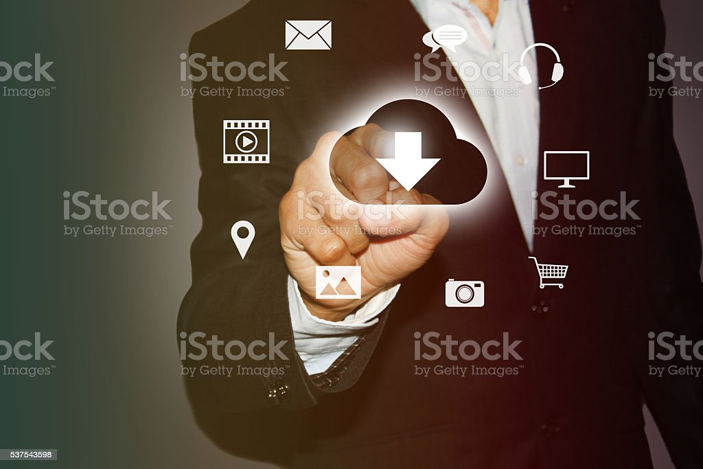 Download media files from Cloud stock photo