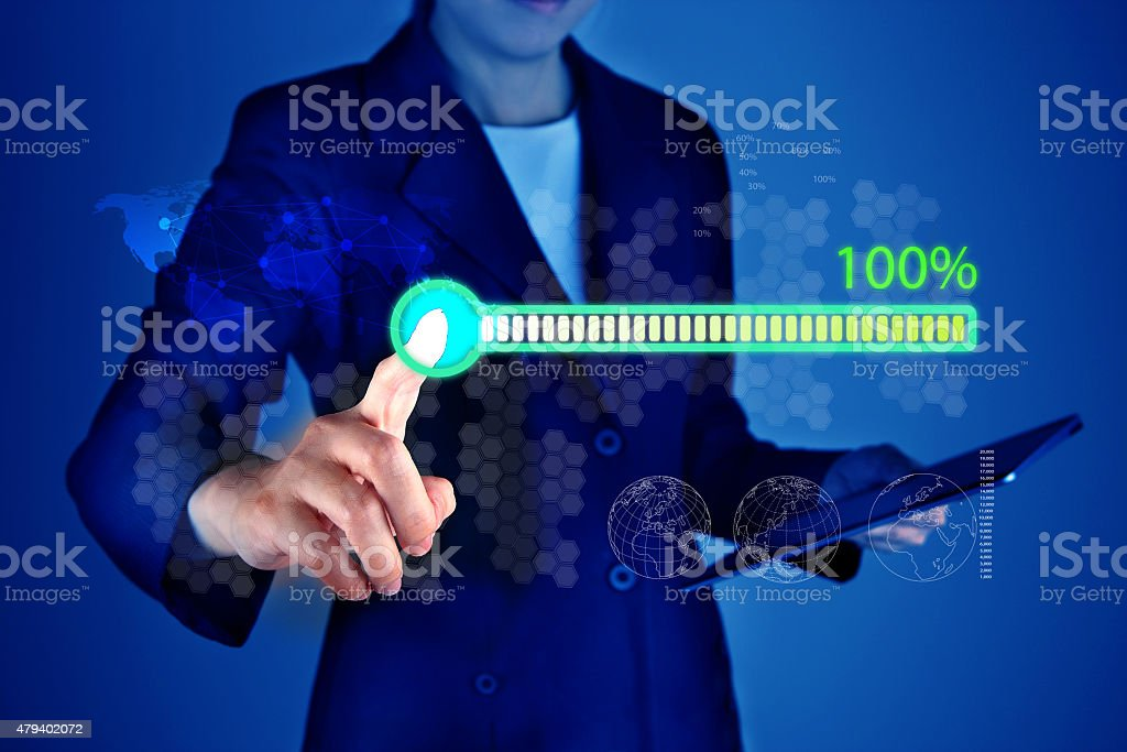 Download process bar on screen stock photo