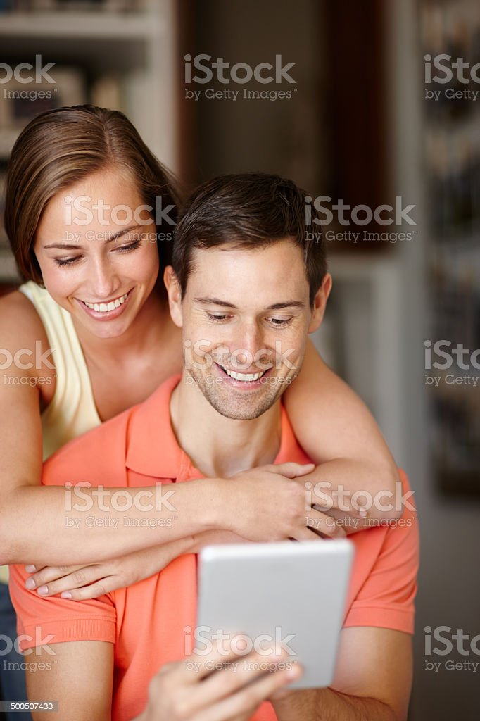 Downloading her favorite songs stock photo