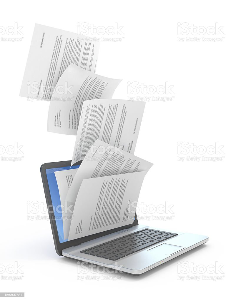 Downloading of documents. stock photo