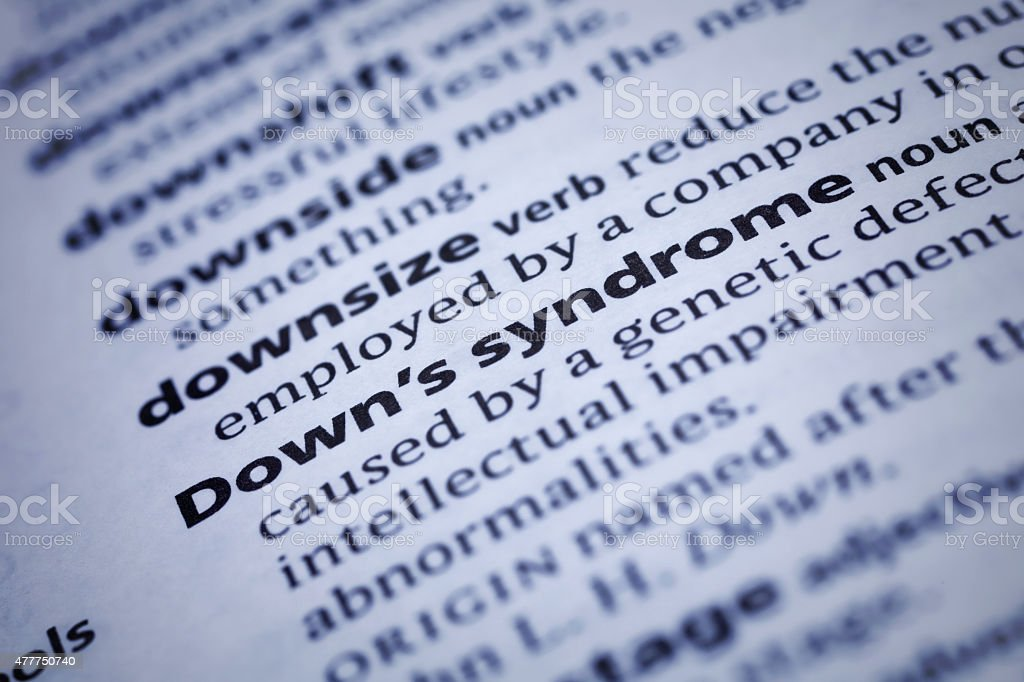 Down's syndrome: Dictionary Close-up stock photo