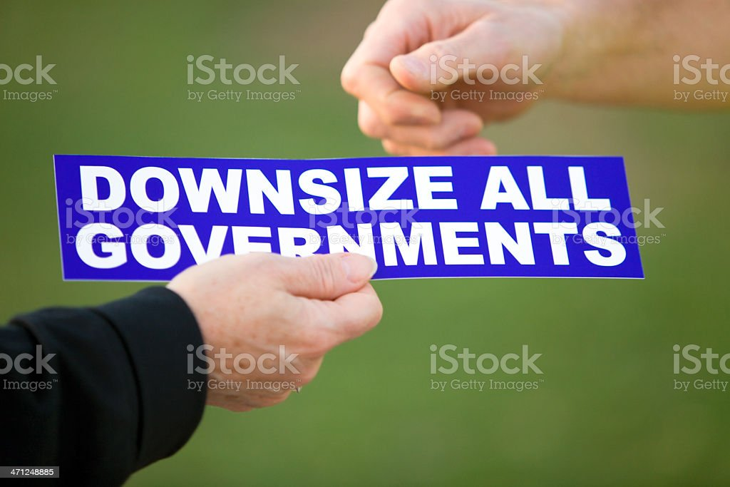 Downsize All Governments Bumper Sticker stock photo