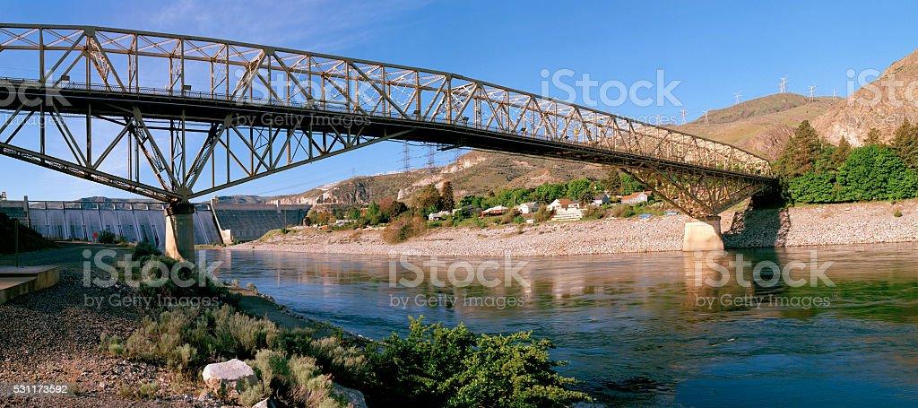 Downstream Bridge, Grand Coulee Dam, Washington stock photo