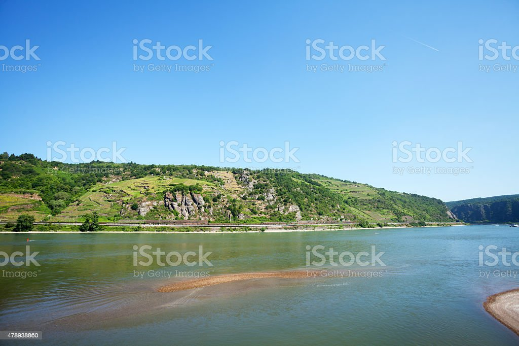 Downstream Middle Rhine in summer stock photo
