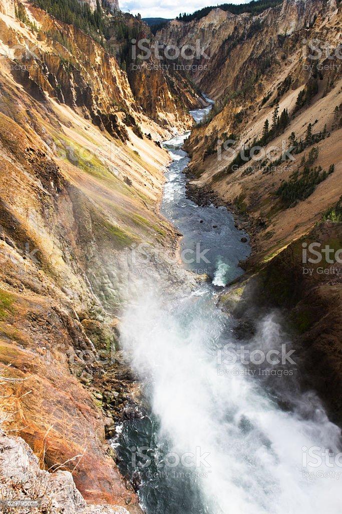 Downstream of Lower Yellowstone Falls stock photo