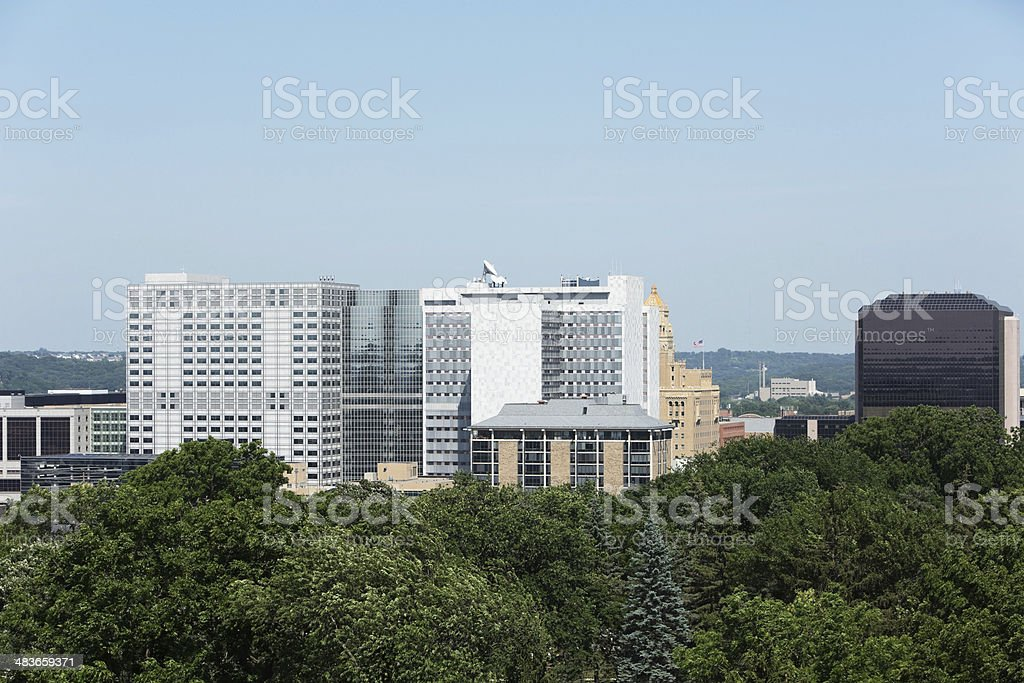 Downtown Aerial Rochester Minnesota Mayo Clinic Buildings stock photo