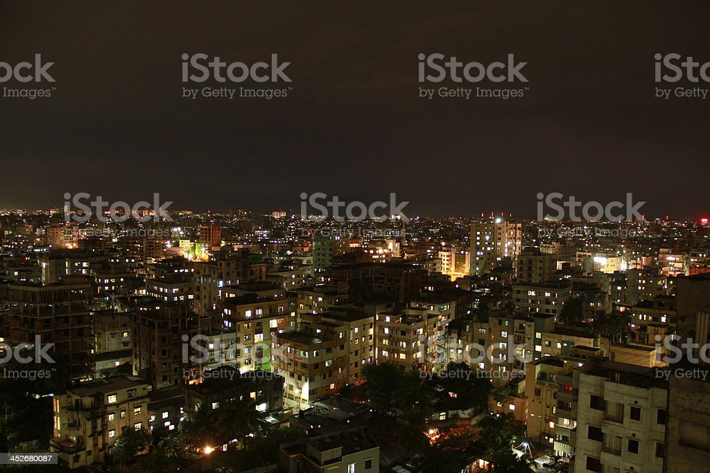 Downtown aerial view at night stock photo