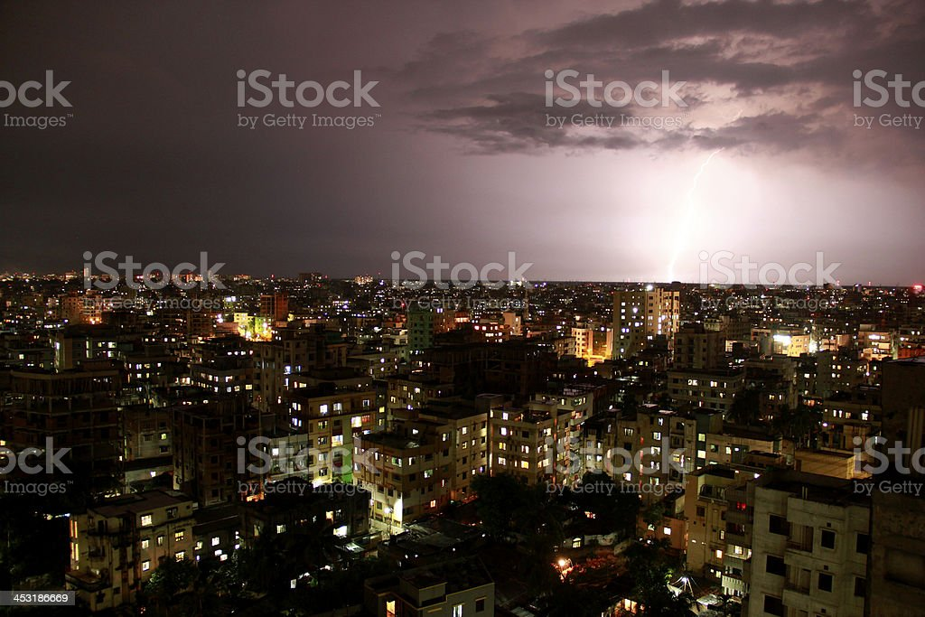 Downtown aerial view with lightning at night stock photo