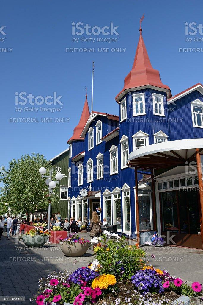 Downtown Akureyri of Iceland stock photo