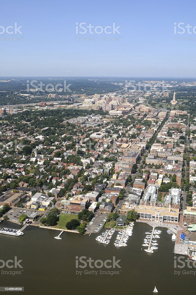 Downtown Alexandria aerial stock photo