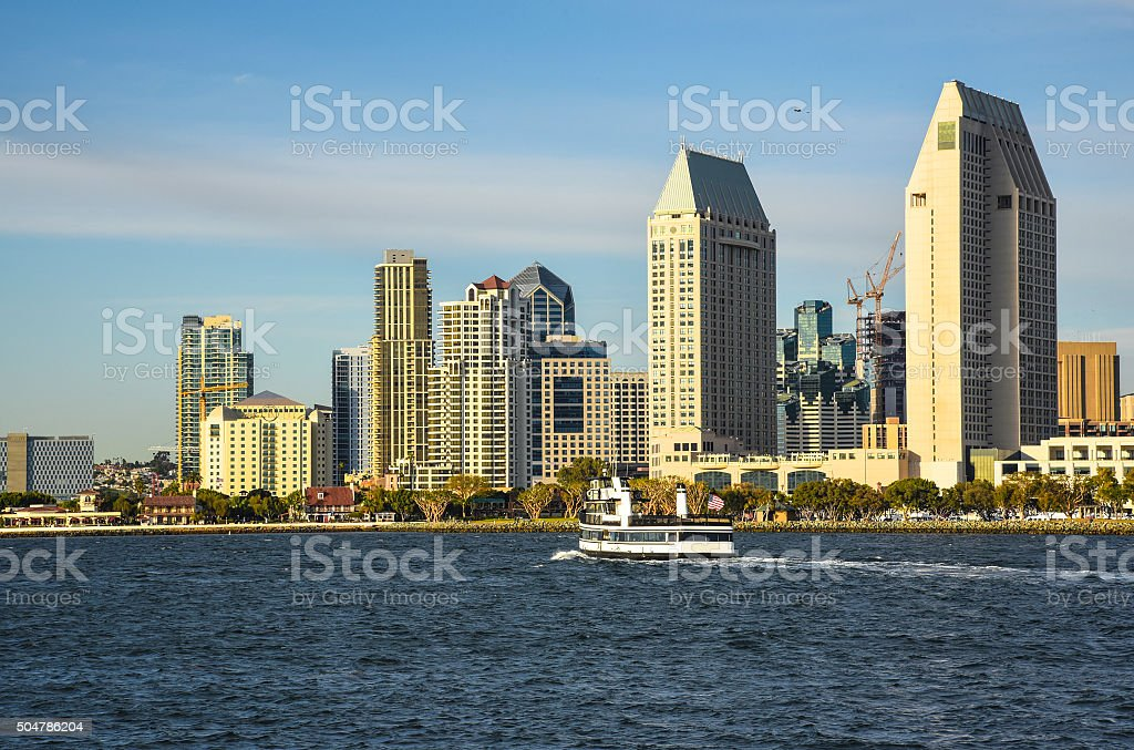 Downtown and ferry stock photo