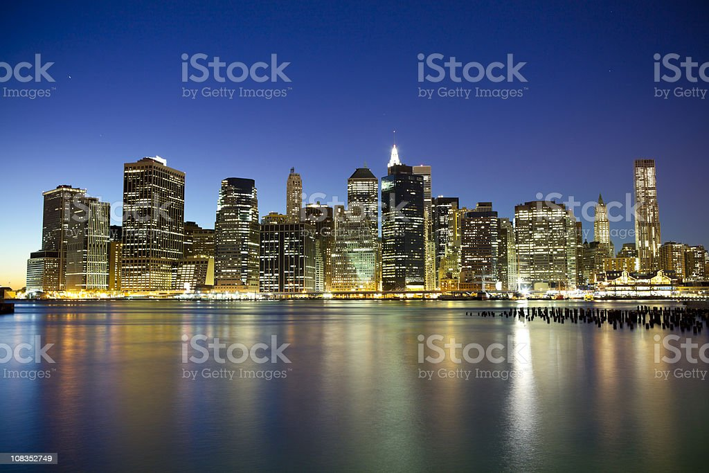 NYC Downtown at night royalty-free stock photo