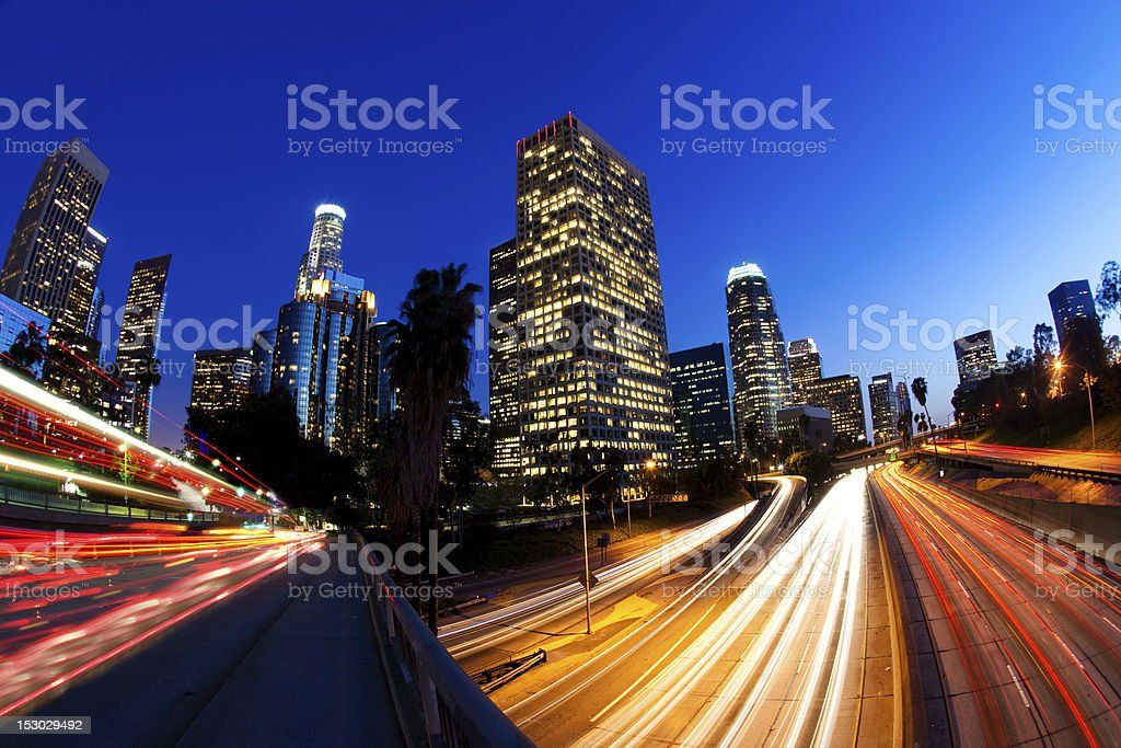 Downtown LA at Night royalty-free stock photo