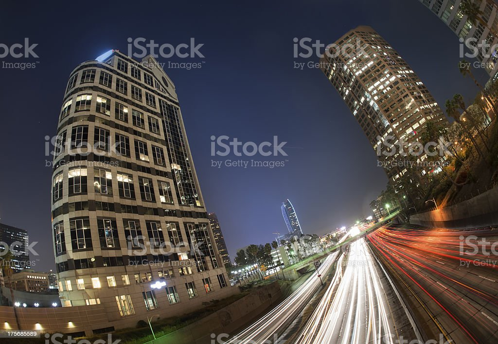 LA Downtown at night royalty-free stock photo