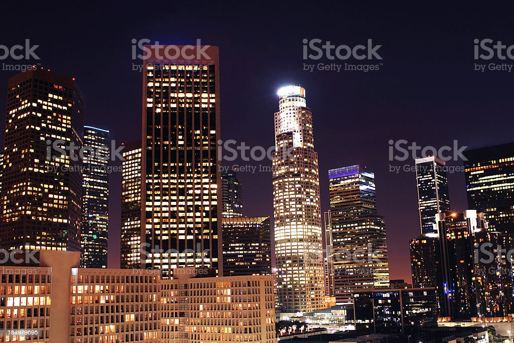 Downtown LA at Night stock photo