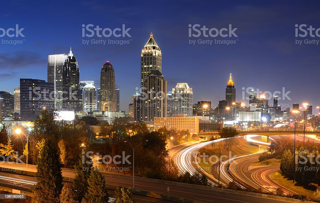 Downtown Atlanta at night with an orange tint royalty-free stock photo
