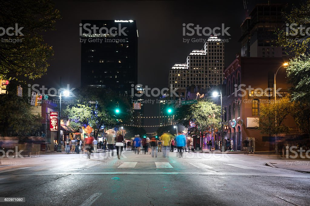 Downtown Austin at Night on Sixth Avenue, Texas, USA stock photo