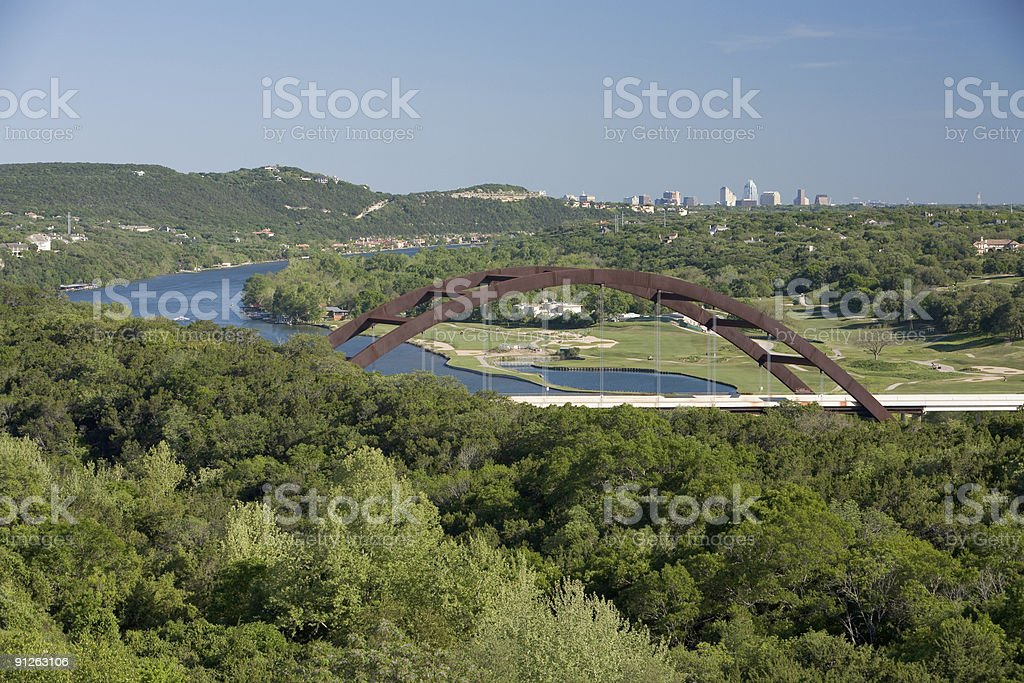 Downtown Austin Texas from the West in Springtime stock photo
