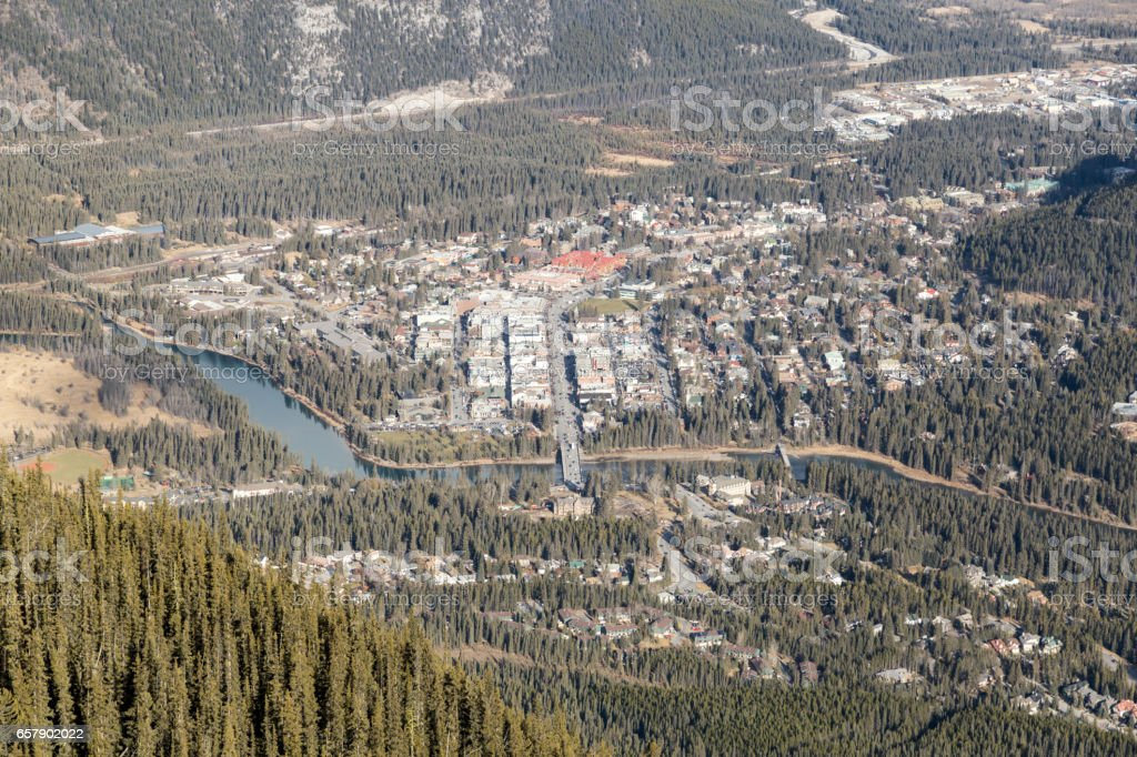 Downtown Banff from above stock photo