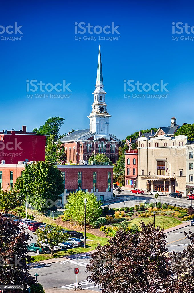 Downtown Bangor, Maine On A Sunny Day stock photo