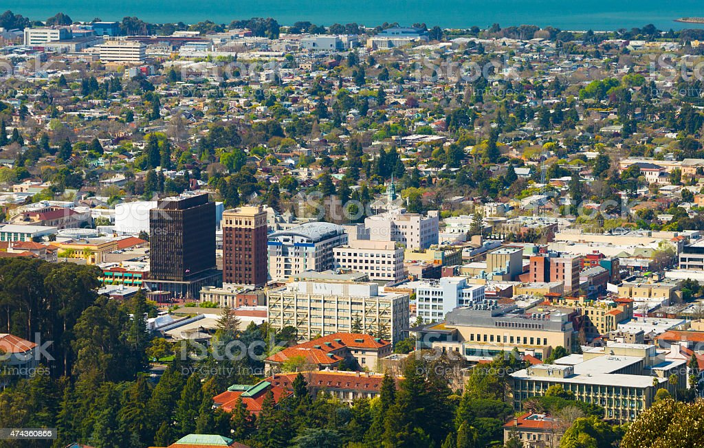 Downtown Berkeley aerial stock photo